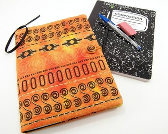 Composition Notebook Cover, Reusable Fabric Journal Cover, School Notebook  - Tribal Spirals on Orange and Yellow with Metallic Gold Batik