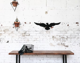 Rustic Industrial Reclaimed Wood Bench with Steel Legs