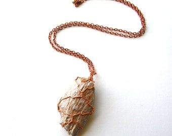 Dinosaur Bone Necklace - Fossil Necklace - Copper Fossil Necklace - Wire Wrapped Necklace