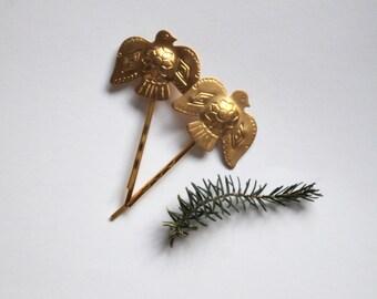 Gold Thunderbird Mythology bobby pins - Gold tribal bird hairpin, nature, mythology,alternative, unique, Native Indian style