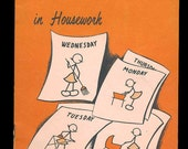 vintage booklet, old knowledge, National Research, Posture in Housework, stick figures