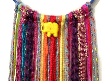 Yellow Elephant wall hanging - colorful home decor - kids room decor - pink elephant wall hanging - boho hippie elephant dream catcher