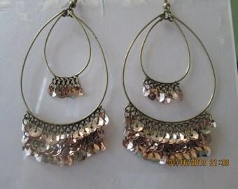 Bronze Tone Double Hoop Earrings with Gold Tone Disc Dangles