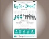 """Silhouette Wedding Party Program, """"Kylie + Daniel Design"""" Wedding Party, Ceremony Program 5.5""""x8.5"""""""