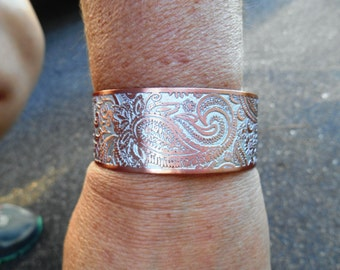 Paisley Cuff Bracelet, Paisley Bracelet, Copper Bracelet, Etched Paisley, Handmade Jewelry, Ready to Ship, Jewelry Gift
