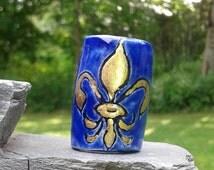 Large Hole Dreadlock Bead, Gold Fleur De Lis Dread Bead, Hair Accessories, Cobalt Blue Bead,  Macrame Beads, Ceramic Pottery, Handmade Beads