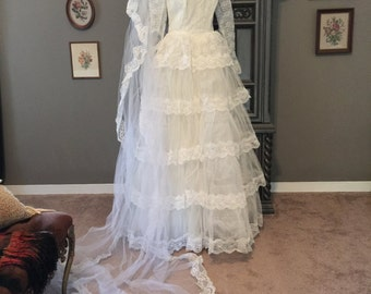 50s Tiered Lace Wedding Dress with Matching Veil