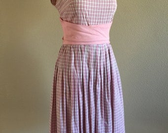 50s 2pc Pink Gray Check Cotton Summer Dress w/ Jacket