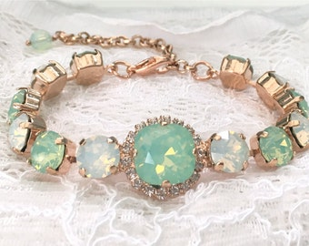 Mint Bracelet Rose Gold Bracelet Mint Wedding Mint Bridesmaids Seafoam Green Mint Opal White Opal Swarovski Crystal Mint Bridal Bracelet