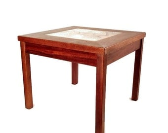 Mid Century Table -Brown Saltman - Modern End Table - Enameled Copper Tile Table - Walnut - 1960s - John Keal