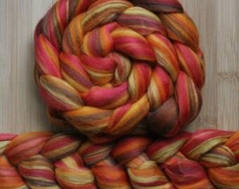 "Merino ' WOOLY-WOW Roving in ""Fire Blaze "" colorway - Orange, pale red, brown, mustard blend - Spinning Felting braid - Fiber arts"