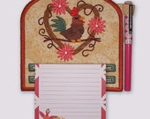 Cute Rooster in Wreath Magnetic Embroidered Notepad Holder