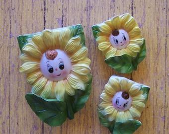 Vintage Ceramic Smiling Sunflower Wall Pockets Set of 3
