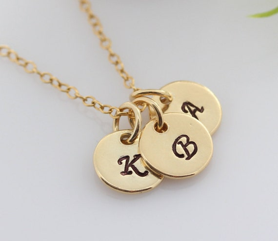 Gold initial Necklace, Initials Gold Necklace, Engraved Necklace, Gold Initial Disc Necklace, Custom Initial Gold Disc, Family Necklace