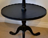 Two Tier Pedestal Pie Crust End Table Side Table - Black Chalk Paint Gold Accents
