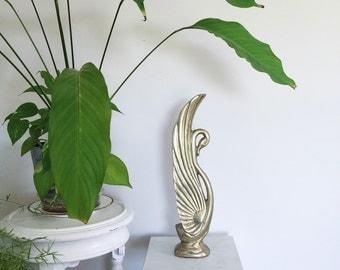 SALE / Vintage Hollywood Regency Large Brass Swan Figurine for Home Decor or Prop Display
