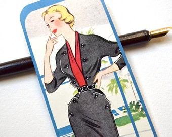 Bookmark - 1950's Fashion - Handmade - Vintage Ad -