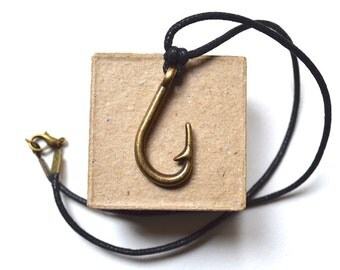 Necklace - Fish Hook - Bronze Pendant - For Men - Vintage Style - Handmade