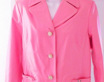 Pink Leather Jacket, Ladies Leather Coat, Leather Jacket Size 12, Terry Lewis Classic Luxuries