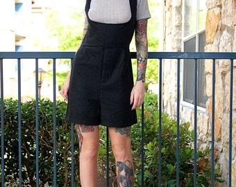 Mod 60's Handmade Wool Charcoal Grey Black Onesie Jumper Overall Suspender Romper // Women's Medium M