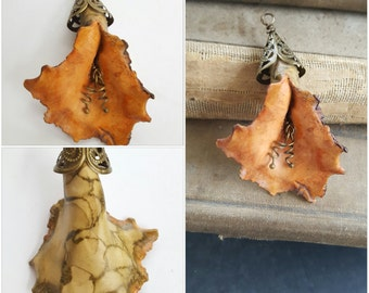 Handmade Polymer Clay Flower Pendant - Rustic Artisan Orange & Tan Hand Painted Ruffle Flower - Nature Wired Focal - The Bead Hutch
