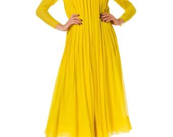 1980s James Galanos Pleated Chiffon Yellow Dress SIZE: S, 4
