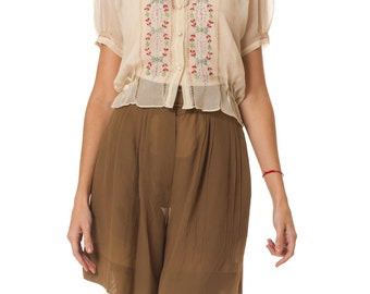 Vintage 1930s Silk Chiffon Boho Blouse  Size: XS/S