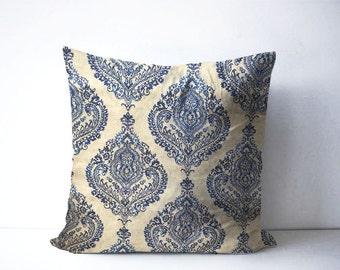 """Boho pillow cover blue cream fits 18""""x 18"""" pillow cover  bohemian throw pillow sofa pillow cover bedroom decor"""