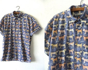 Dog Lovers Patterned Button Down - Kawaii Style 90s Cartoon Dogs Print Short Sleeve Oxford Shirt - Mens Medium