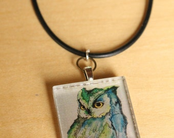 Hued Owl Pendant Necklace -  Wearable Art by Mandolin Artworks