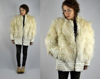 CURLY Mongolian Lamb Ivory FUR Tibetan Fur LLama Fur Coat Jacket CHUNKY Curly Fur Fluffy Pockets size M - L