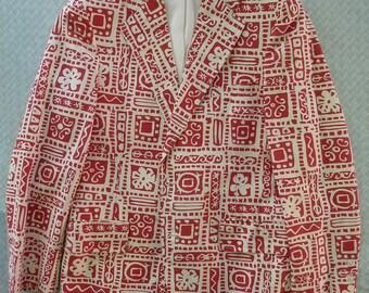 Reyn's Men's Wear early 1960s label Hawaiian casual Sports coat A rare Beach jacket Size 39 R. Small-Medium. Tiki. Red and White.