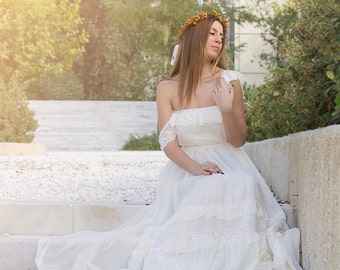 Wedding Dress, Bohemian Wedding Gown, Boho Bridal Gown, Unique Ivory Wedding Dress, Romantic Lace Wedding Dress Handmade by SuzannaM Designs