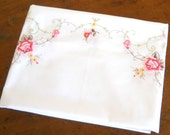 vintage roses tablecloth embroidered tablecloth vintage white tablecloth floral tablecloth embroidery pink roses tablecloth