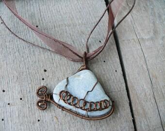 Sea stone pendant, sea stone jewelry, spiral wire wrapped pendant, genuine beach stone pendant, brown copper wire, pendant statement piece