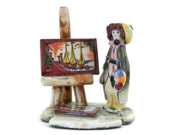 Venice Girl Painter Hobo Clown Artist with Easel by Lino Zampiva Italian Fine Porcelain