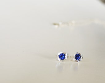 Sapphire Stud Earrings- Beautiful, Earth-mined natural Sapphire Stud Earrings in Sterling Silver, or 14k White, Yellow or Rose Gold