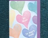 Be My Valentine Card Love Heart Funny Mature Rainbow