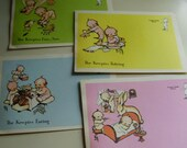 Vintage 1970's Kewpie Kards Rose O Neil Stationary Postcards Paper Ephemera, Set of 4