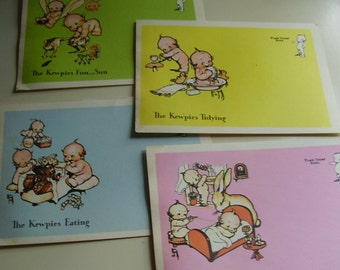 Vintage 1970's Kewpie Kards Rose O Neil Stationary Postcards Paper Ephemera, Set of 4