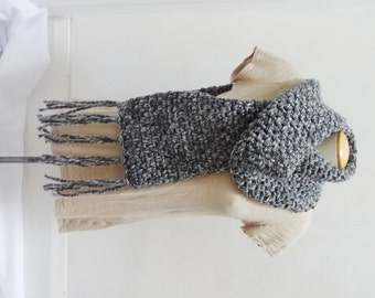 Crochet Thick and Chunky Wool Blend Scarf in Black and White - Ready to Ship
