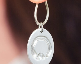 Your horse's own hoofprint in a silver necklace pendant - personalized, horse jewelry, horse necklace, equestrian jewelry, engraved