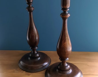 Pair of Edwardian Oak Balister Shape Candlesticks