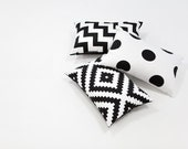 "Geometric Cotton Fabric, Black and White Fabric, Big Dot Fabric, Diamond Fabric, Chevron Fabric - 62"" Wide - Fabric By the Yard 85972"