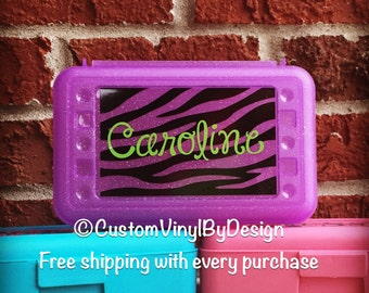 Personalized Pencil Box Art Box Crayon Box School Box -- Free Shipping in USA