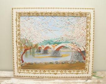 Original Painting Kintai Bridge Cherry Blossoms Iwakuni Japan