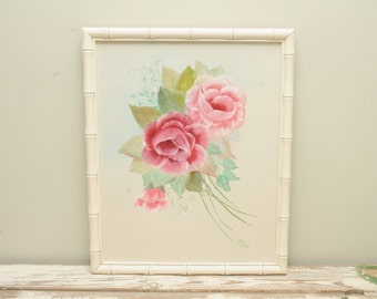 Mid Century Original Pink Roses Painting Signed
