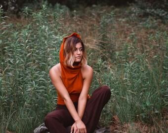 Rosalie Top - Harmonic Threads, Halter Top, Hooded Top, Cowl Top
