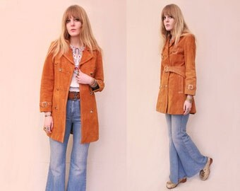 Vtg 70s Rust Suede Double Breasted Belted Mod Jacket S