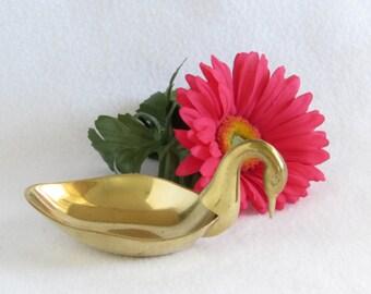Brass Swan Figurine - Bowl - Dish - Golden Shiny Vintage Home Decor
